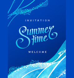 Drawn sea with calligraphic text vector