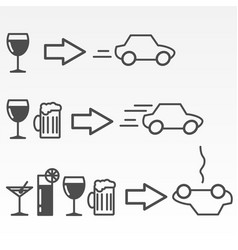 Driving and alcohol consumption danger vector
