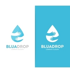 Drop and hands logo combination Aqua and vector