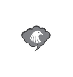 eagle head inside a chat ion for logo design vector image