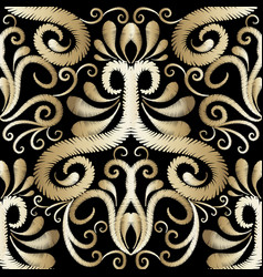 Embroidery gold floral seamless pattern damask vector
