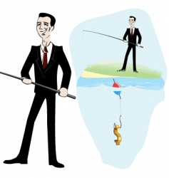 Fishing for money vector