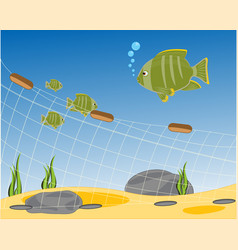fishing net seaborne vector image