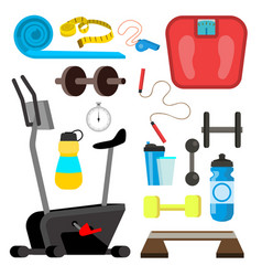 fitness icons simulator scales dumbbell vector image