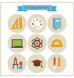 Flat School and Education Icons Set vector image