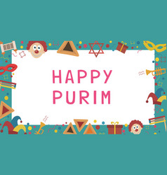 frame with purim holiday flat design icons with vector image