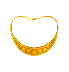 Gold crescent shaped necklace vector