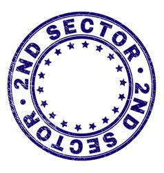 Grunge textured 2nd sector round stamp seal vector
