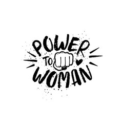 Hand drawn lettering girl power feminist slogan vector
