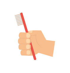 hand holding toothbrush hygiene oral vector image