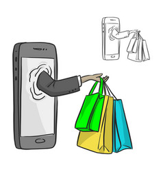 hand of businessman with shopping bags at vector image