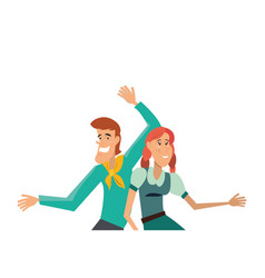 happy couple dancing in traditional clothes vector image