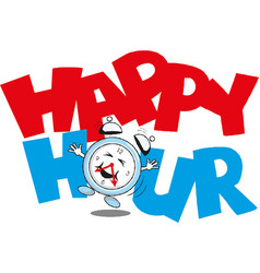happy hour clock image and inscription vector image