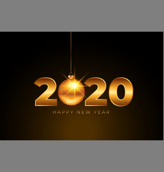 happy new year 2020 golden background with vector image
