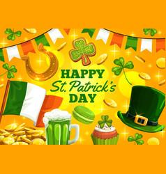 Happy st patrick day irish holiday ireland flags vector