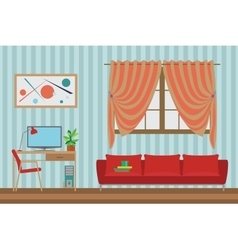 Home Interior flat design Workspace for vector