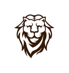 Lion mascot logo design black and white vector