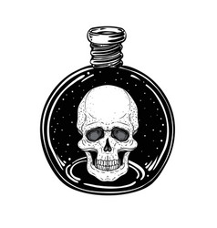 magic potion black bottle with moon and stars vector image