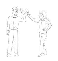 Man and woman clink champagne glass vector image