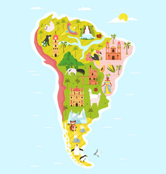 Map south america with famous natural landmarks vector