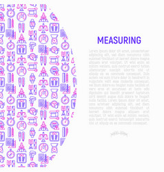 measuring concept with thin line icons vector image
