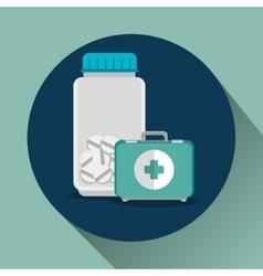 medicine bottle and kit vector image