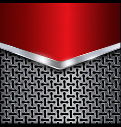 Metal background Red chrome Metal grid vector