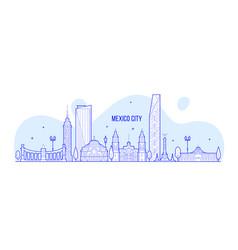 Mexico city skyline mexico linear art vector