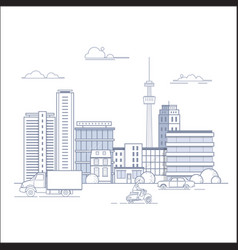 Modern city landscape with buildings and urban vector