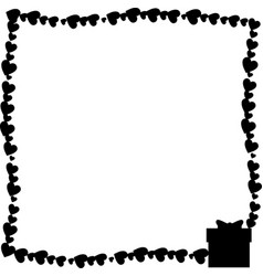 monochrome vintage photo frame made of hearts vector image