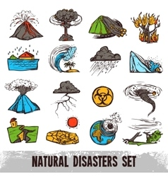 Natural Disasters Color Set vector