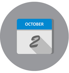October 2nd date on a single day calendar vector