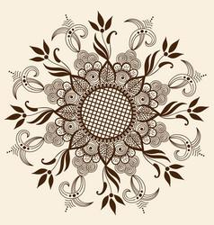 Of mehndi ornament traditional vector
