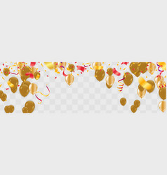 party balloons confetti and ribbons flag ribbons vector image