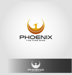 Phoenix logo with circle wings concept vector