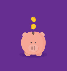 pig bank flat isolated on color background vector image
