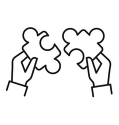 Puzzle cooperation icon outline style vector