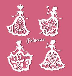 Romantic princess in lacy wedding dresses vector