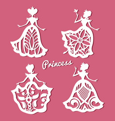 Romantic princess in lacy wedding dresses with vector
