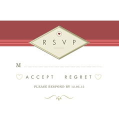 RSVP Wedding card red and gold ribbon theme vector image