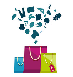 sale tag shopping bags concept background i vector image