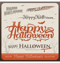 set happy halloween greetings typography vector image