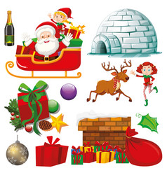 set isolated objects christmas theme vector image