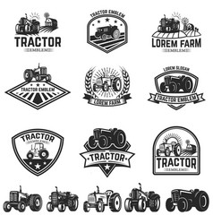 Set of tractor emblems design element for label vector