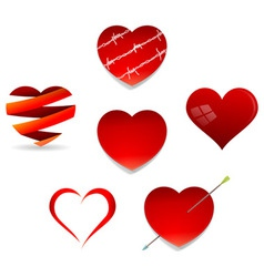Set of Valentine Hearts vector image