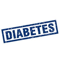 Square grunge blue diabetes stamp vector