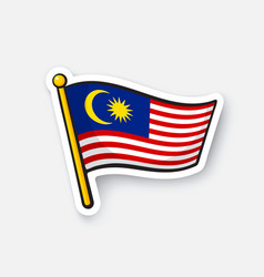 Sticker flag malaysia vector