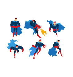 strong superman character set comic superhero in vector image