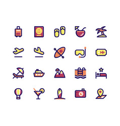 Travel filled line icons vector