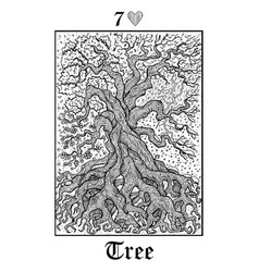 Tree and seasons tarot card from lenormand vector